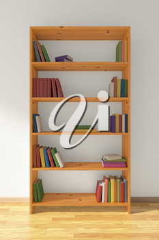 Wooden bookcase on brown wooden parquet floor about white wall with many different books on bookshelves, 3D illustration