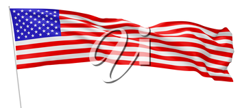 National flag of United States of America with stars and stripes with flagpole flying and waving in wind isolated on white long flag, 3d illustration.