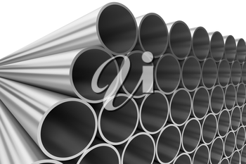 Manufacturing industry business production and heavy metallurgical industrial products creative abstract illustration: many shiny steel pipes lying in rows isolated on white, 3D illustration
