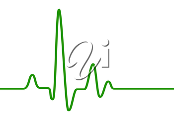 Green heart beat pulse line on white, healthcare medical sign with heart cardiogram, cardiology concept pulse rate diagram illustration.