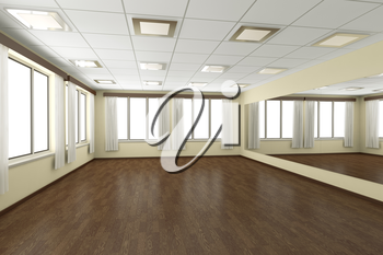 Empty training dance-hall with yellow walls, dark wooden parquet floor, white ceiling with lamps and window with white curtains, 3D illustration
