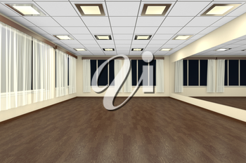 Empty training dance-hall at night with yellow walls, dark wooden parquet floor, white ceiling with lamps and window with white curtains, 3D illustration