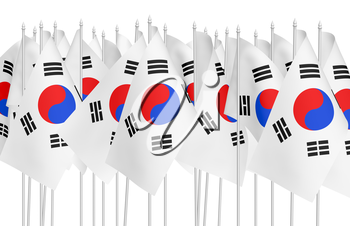 Many small flags of South Korea republic in row isolated on white background, 3d illustration