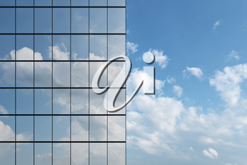 Wall of modern business skyscraper with blue windows in day sunlight under blue sky with clouds raising to the sky closeup front view, business offices corporate building, 3D illustration