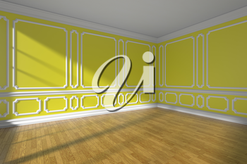 Yellow empty room interior with sunlight from window, classic style molding on walls, wooden parquet floor and white baseboard, 3d illustration.