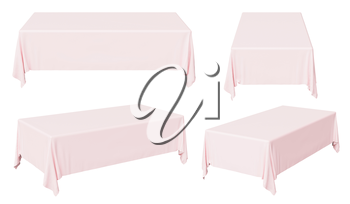 Pink rectangular tablecloth set isolated on white, 3d illustration collection