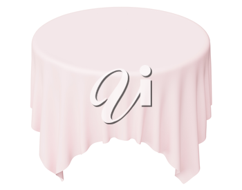 Pink round tablecloth with angles isolated on white, 3d illustration