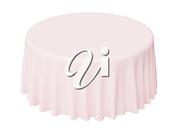 Pink round tablecloth isolated on white, 3d illustration