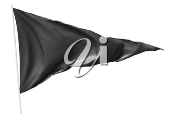 Black triangular flag on flagpole flying in the wind isolated on white, 3d illustration