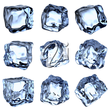 Nine blue clear ice cubes collection isolated on white background