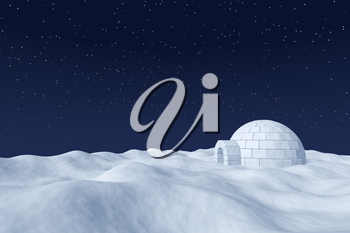 Winter north polar natural night snowy landscape: eskimo house igloo icehouse made with white snow at night on surface of polar white snow field under the cold night north sky with bright stars.