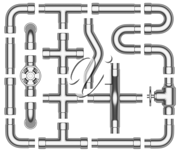 Steel pipeline construction details collection: steel pipes, valves, tubes, fittings, couplers and other steel pipeline elements set isolated on white background, industrial 3d illustration