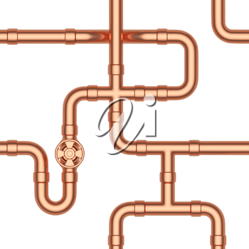 Abstract industrial construction seamless background: copper pipes, valves, tubes, fittings, couplers and other copper pipeline elements isolated on white, industrial 3d illustration