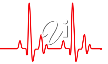 Red heart beat pulse graphic line on white, healthcare medical sign with heart cardiogram. Cardiology concept pulse rate diagram illustration