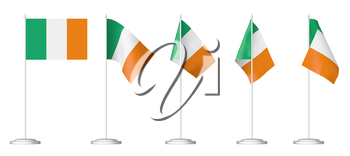 National flag of Ireland, set of small table flag of Ireland on stand isolated on white, 3d illustrations.