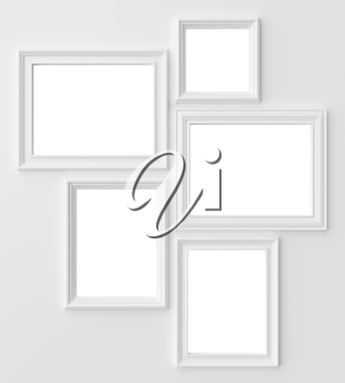 White blank photo frames on white wall with shadows with copy-space, white colorless picture frames template set, photoframe mock-up 3D illustration