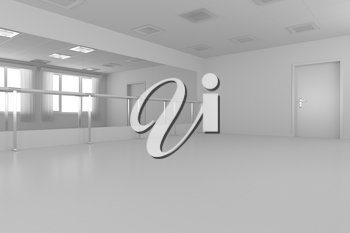 White empty training dance-hall with white flat walls without textures, white parquet floor, white ceiling with lamps and window with white curtains, 3D illustration