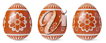 Red Easter eggs with shadow painted with white simple decor isolated on white background, Easter eggs set, easter symbol, 3D illustration