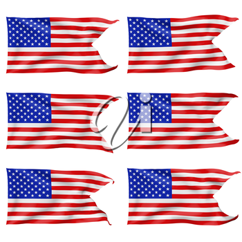 National flag of United States of America with stars and stripes with angle flying and waving in the wind isolated on white 3d illustration set
