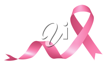 Realistic pink ribbon of breast cancer awareness campaign in october month isolated on white background, creative 3D illustration