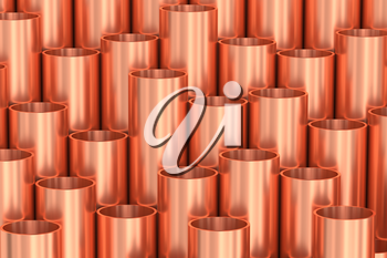 Heavy metallurgical industry production and non-ferrous industrial products creative abstract illustration: many stainless metal shiny copper pipes creative industrial background, 3D illustration