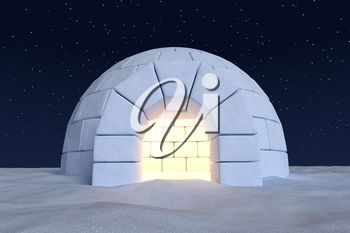 Winter north polar snowy landscape: closeup view of eskimo house igloo icehouse with warm light inside made with snow at night on surface of snow field under cold north night sky with bright stars