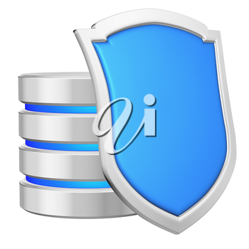 Database behind blue metal shield on right protected from unauthorized access, data privacy concept, 3d illustration icon isolated on white background for Data Protection Day