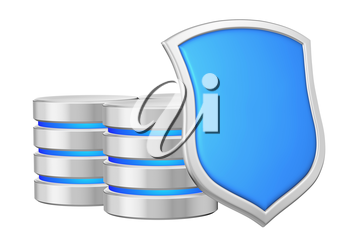 Databases group behind metal blue shield on right protected from unauthorized access, data protection concept, 3d illustration icon isolated on white background for Data Protection Day.