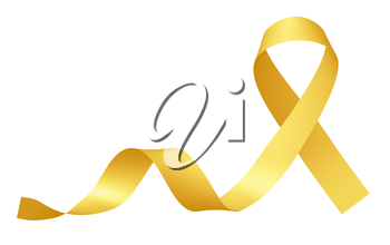 Yellow ribbon International Childhood Cancer Awareness Day symbol isolated on white awareness campaign in february month, design element 3D illustration.