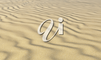 Dry yellow sand on beach with waves under bright summer sunlight, closeup perspective view, nature 3D illustration.