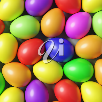 Multi colored Easter eggs colorful background with many different color painted eggs, top view, 3D illustration