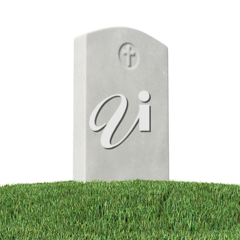 Gray blank gravestone on green grass on graveyard in memorial day under bright sunlight isolated on white background 3D illustration