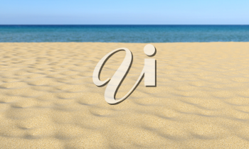 Closeup of sand on tropical sandy beach under summer sunlight and clear blue sky and calm sea in bokeh, shallow depth of field, nature landscape 3D illustration