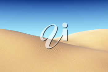Smooth sand dunes with waves under clear blue sky under bright summer sunlight, natural 3D illustration.