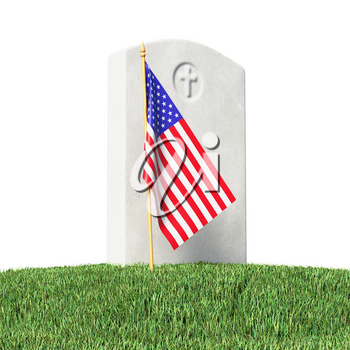 Small American flag and gray blank gravestone on green grass field in memorial day under sun light isolated on white background, Memorial Day concept 3D illustration