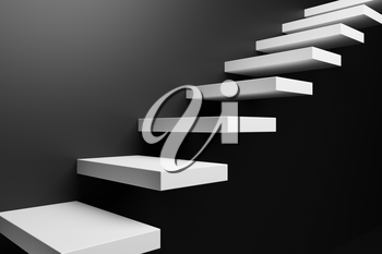 Ascending white stairs of rising staircase going upward in black empty room, abstract black 3D illustration. Business growth, progress way and forward achievement in the dark creative concept.