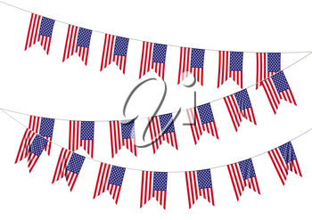 Strings of American flags decorative hanging bunting, bright USA patriotic flags garlands isolated on white. 4th of July, Independence day holidays decoration 3D illustration