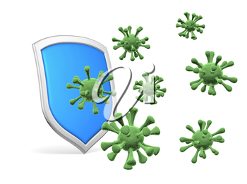 Shield protect form viruses and bacteria cells isolated on white background 3D illustration, coronavirus COVID-19 protection, medical health, immune system and health protection concept