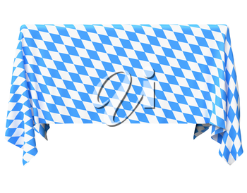 Bavaria square tablecloth with blue-white checkered pattern isolated on white, front view, traditional Oktoberfest festival decorations, 3d illustration
