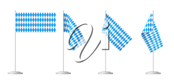 Oktoberfest small table flags on stand set isolated on white, Bavarian checkered blue flag with blue-white checkered pattern, traditional Oktoberfest festival decorations, 3D illustration