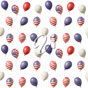 USA Independence Day celebration background with balloons with American flags, stars, lines, vintage colors, flying up isolated on white. 4th of July 3D illustration seamless background.