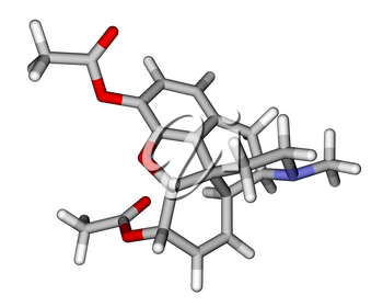 Optimized molecular structure of heroin on a white background