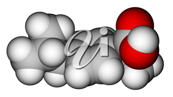Optimized molecular structure of ibuprofen on a white background