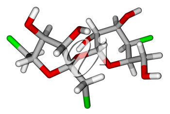 Optimized molecular structure of sweetener sucralose on a white background