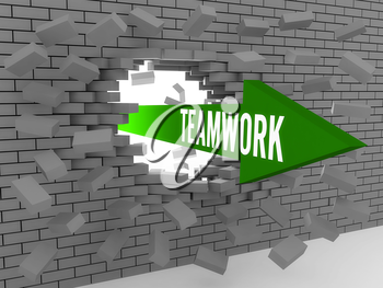 Arrow with word Teamwork breaking brick wall. Concept 3D illustration.