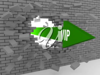 Arrow with word Vip breaking brick wall. Concept 3D illustration.