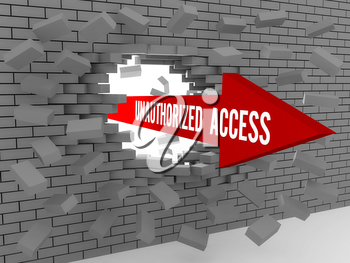 Arrow with words Unauthorized Access breaking brick wall. Concept 3D illustration.