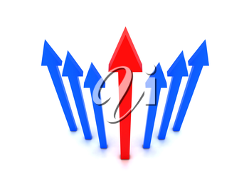 Rising blue arrows with red arrow in center. Concept 3D illustration.