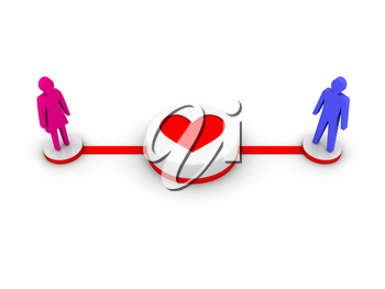 Man and woman connected by love. Concept 3D illustration.