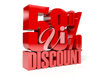 58 percent discount. Red shiny text. Concept 3D illustration.